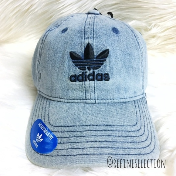 ad0f16f155c0c adidas Trefoil Washed Blue Denim Relaxed Dad Hat